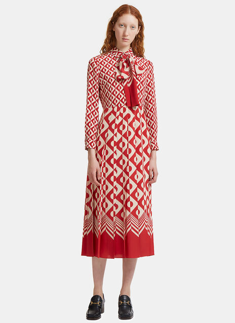Long Geometric Print Pleated Crêpe de Chine Dress