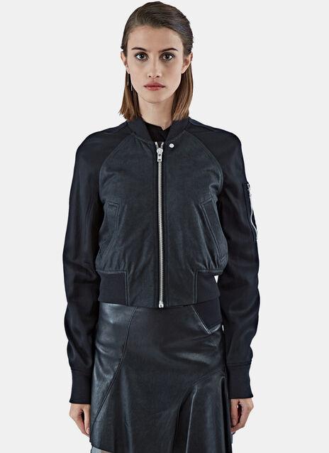 Cropped Leather Flight Bomber Jacket