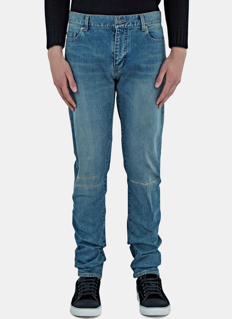Destroyed Knee Slim Leg Jeans