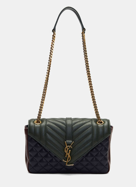 College YSL Monogrammed Three Tone Quilted Satchel Bag