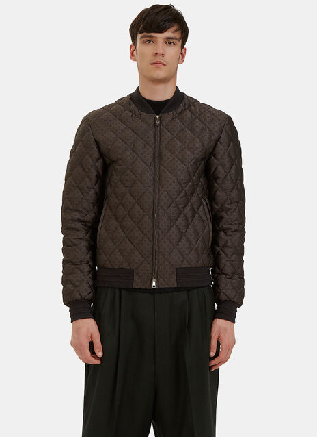 Quilted Jacquard Bomber Jacket
