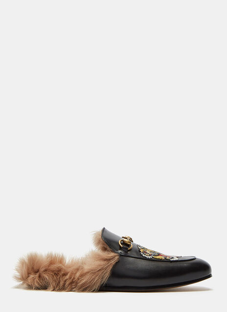 Tiger Embroidered Fur Slip-On Loafers