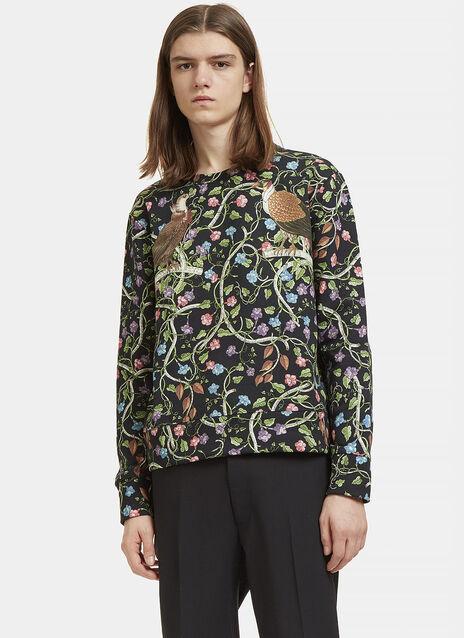 Botanic Bird Print Round Neck Sweater
