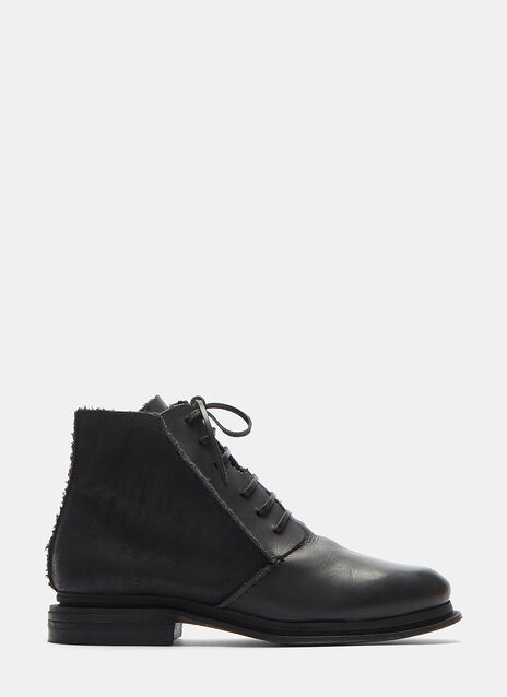 Mario Waxed Lace-Up Leather Boots