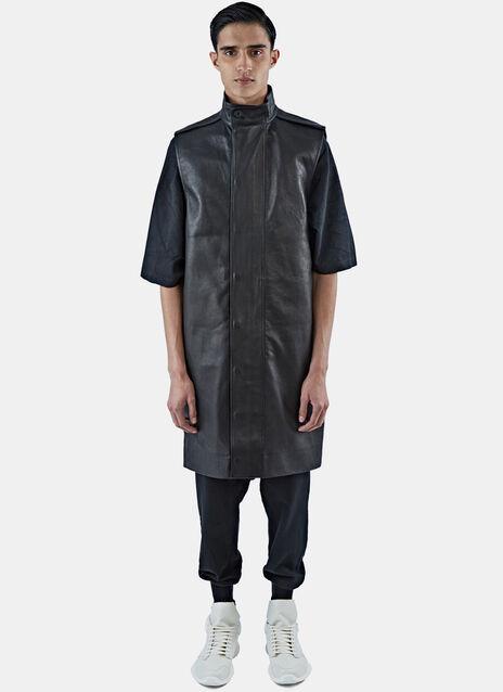 Long Sleeveless Leather Parka Jacket