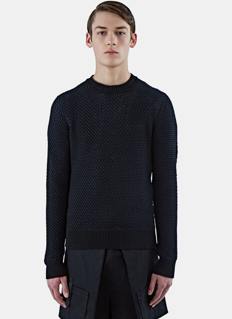 Crew Neck Basket Weave Sweater