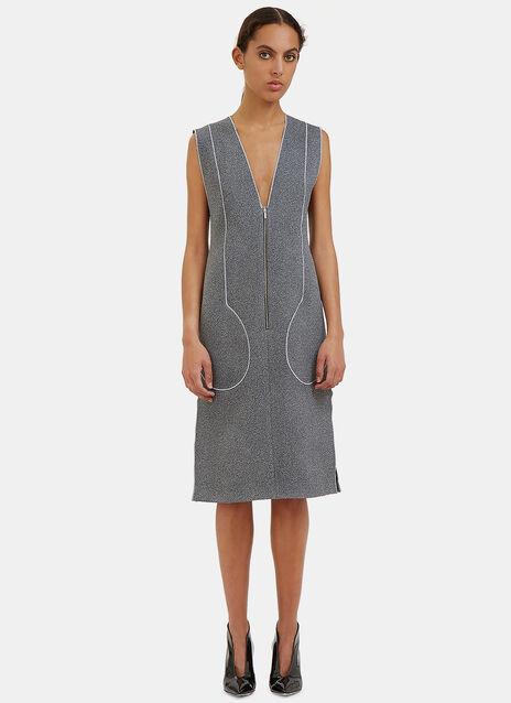 White Noise Overlocked Seam Pocket Dress