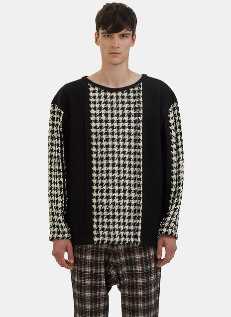 Houndstooth Tweed Panelled Sweater