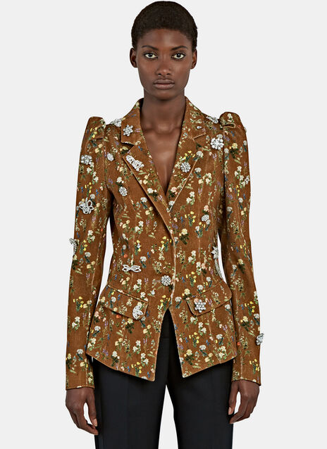 Lulu floral Corduroy Blazer Jacket