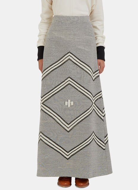 Ojos Two-Tone Knit Column Skirt
