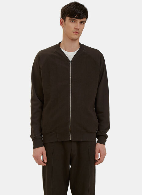 Reverse-Side Loopback Fleeced Bomber Track Jacket