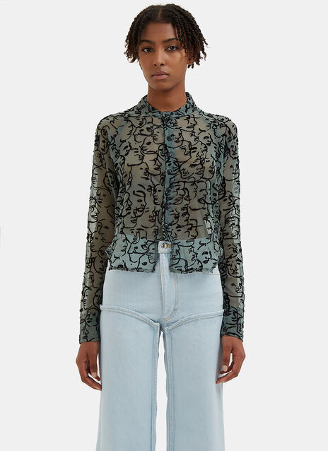 Sheer Face Pattern Shirt