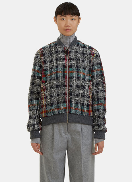 Azura Checked Tweed Bomber Jacket