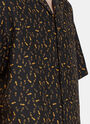 Lanvin Short Sleeve Bowling Shirt Mixed Fabrics
