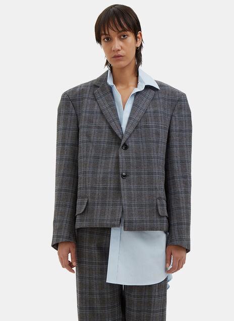 Oversized Fold-Up Checked Blazer Jacket