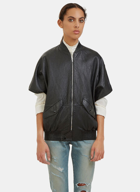 Short Sleeved Leather Bomber Jacket
