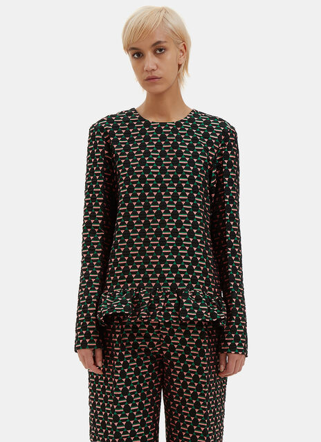Oversized Frilled Geometric Jacquard Top