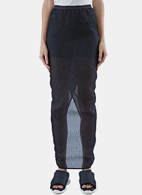 Long Cloqué Column Skirt