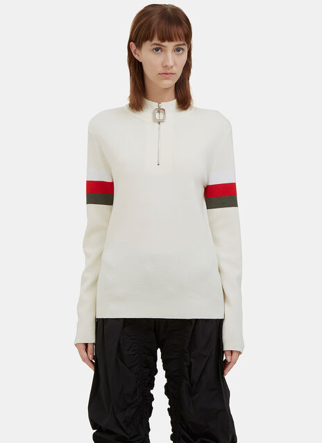 Zipped Mock Neck Striped Sleeve Sweater