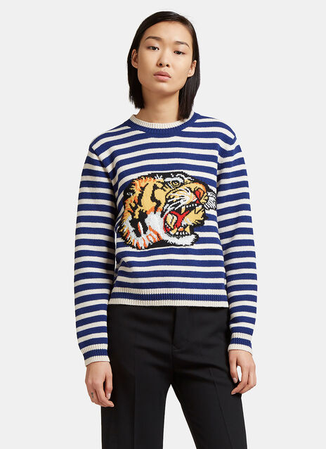Tiger Intarsia Knit Striped Sweater