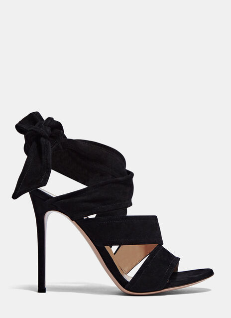 Suede Wrap Heeled Sandals