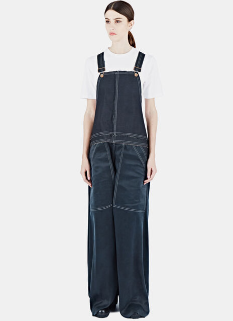 Silk & Coated Denim Dungarees