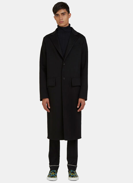 Long Single-Breasted Felt Coat