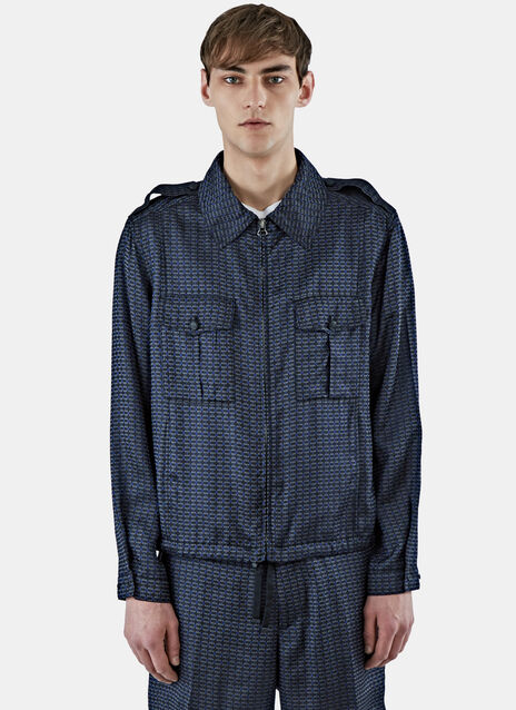 Geometric Jacquard Collared Jacket