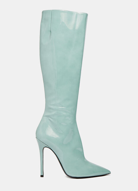 Patent Knee High Leather Boots
