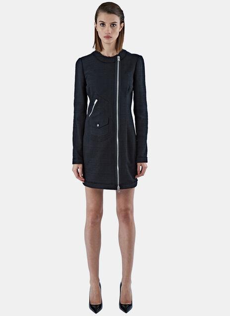 Mid-Length Zipped Tweed Dress