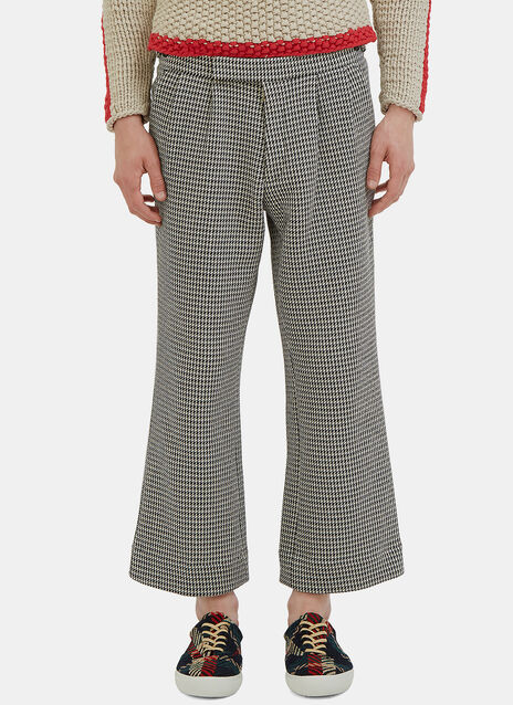 Houndstooth Wide Leg Cropped Pants
