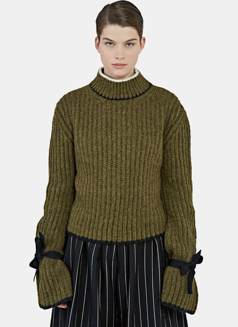 Elongated Tie Sleeve Sweater