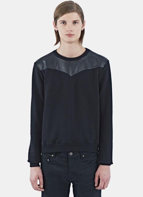 Laser-Cut Leather Yoke Sweater