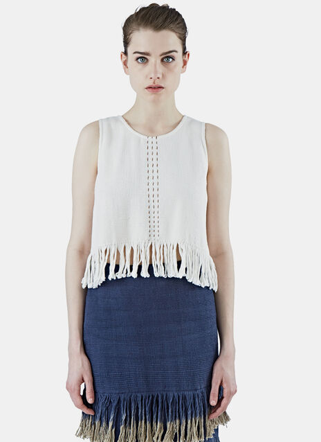 Cropped Woven Fringed Tank Top