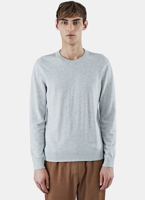 Jersey Crew Neck Sweater with Shoulder Detail