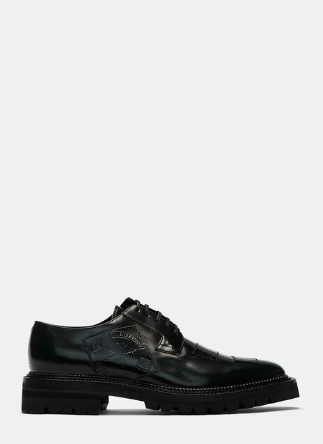Embossed Patch Derby Shoes
