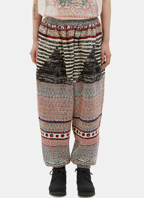 Oversized Patterned Dropped Crotch Pants