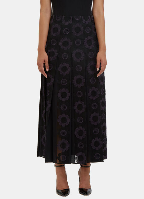 Floral Embroidered Pleat Skirt