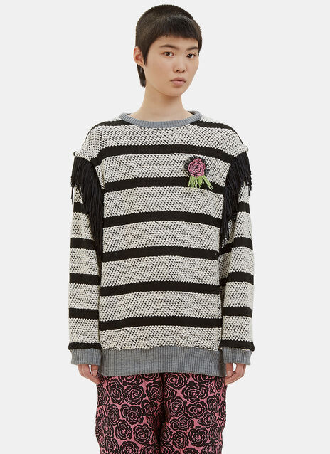 Vote Rosette Striped Knit Sweater