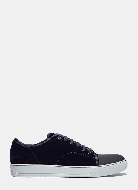 Velvet Low Top Lace-Up Sneakers