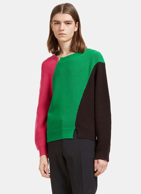 Colour-Blocked Thick Ribbed Knit Sweater
