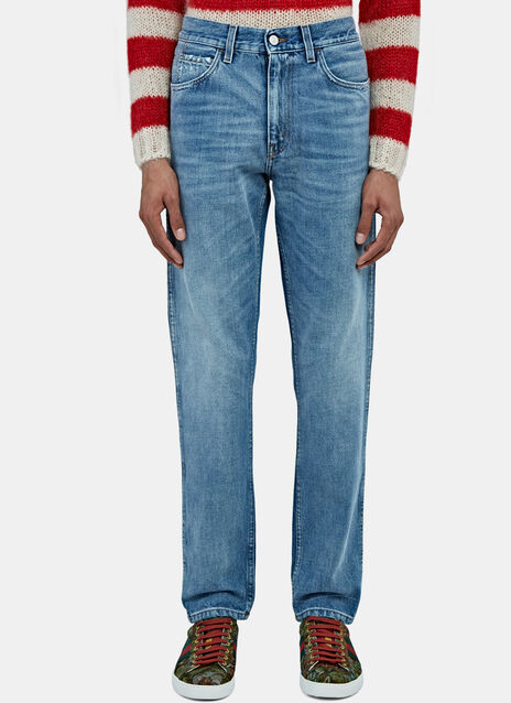 Destroyed Cuff Slim Leg Jeans