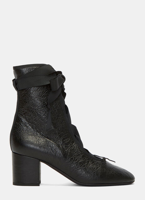 Cracked Block Heeled Ballerina Boots