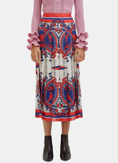 Scarf Print Pleated Skirt