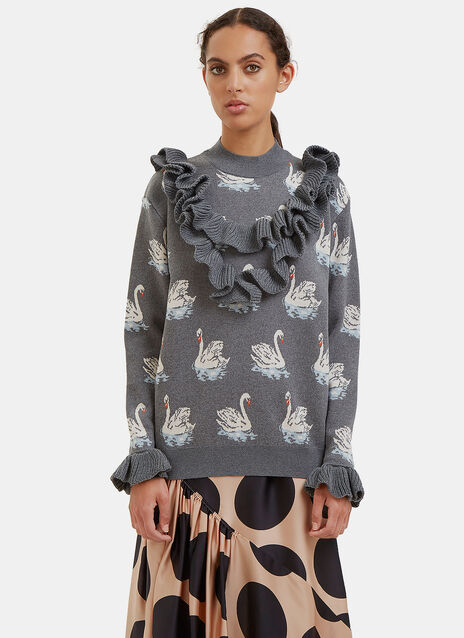 Swan Intarsia Knit Ruffled Sweater