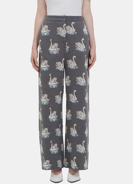 Swan Intarsia Knit Wide Leg Pants