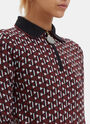 Geometric Jacquard Knit Zipped Polo Shirt