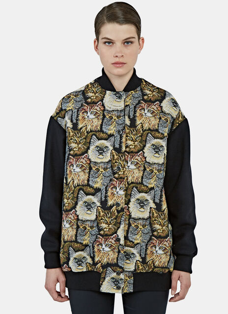 Long Cat Embroidered Bomber Jacket