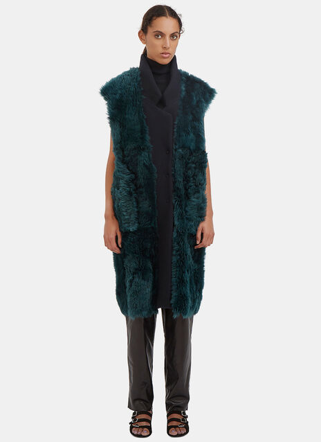 Long Reversible Lamb Fur Wool Gilet