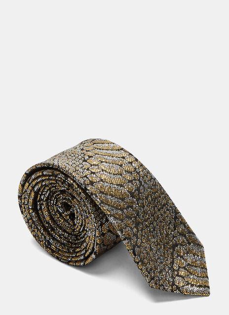 Slim Metallic Python Print Tie